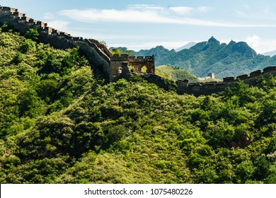 Great Wall of China extending along mountain tops