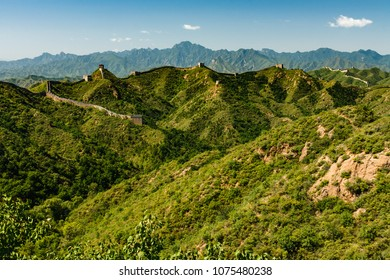Great Wall of China extends for miles  along mountain tops