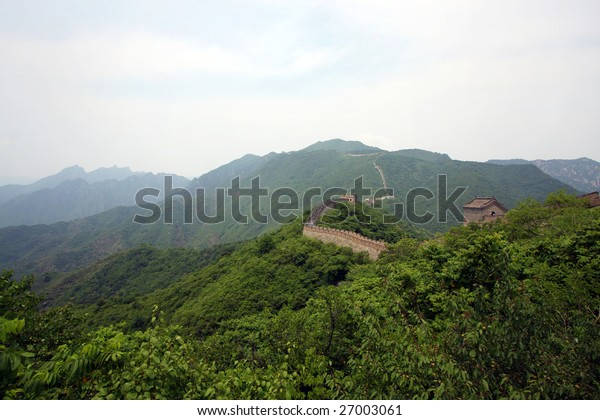 The great wall at China with green foreground