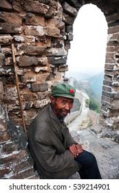 GREAT WALL OF CHINA, JINSHANLING/CHINA - SEPTEMBER 28th 2011 - A local on the Great Wall of China near Jinshanling, Beijing.