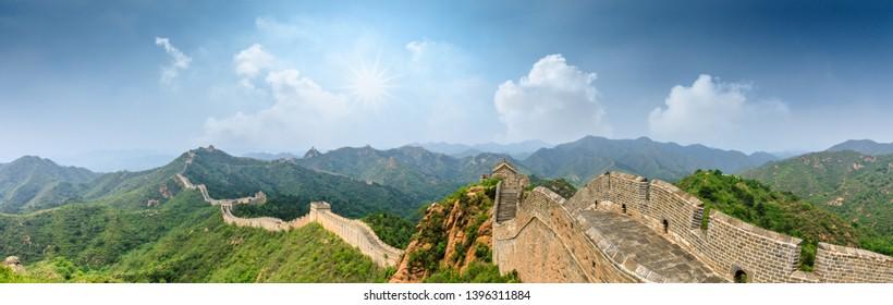 The Great Wall of China at Jinshanling,panoramic view