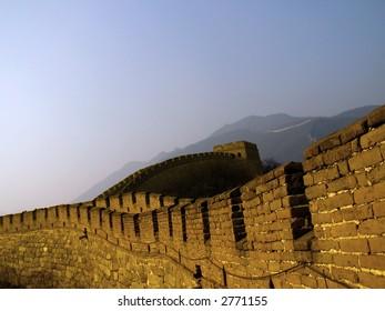 The Great Wall of China (Mu Tian Yu) under a setting sun. February 2007, Chinese New Year.