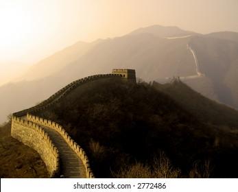 The Great Wall of China (Mu Tian Yu) under a setting sun. February 2007