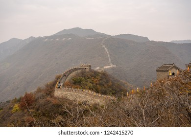 Great Wall of China at Mutianyu stretches for miles over the wooded slopes