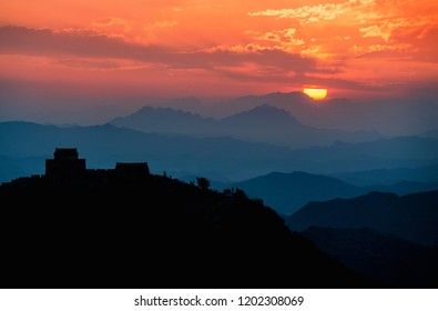 Great wall of China nature scene during sunset