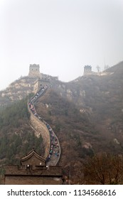 Great Wall of China near Badaling close to Beijing on an overcast morning in spring