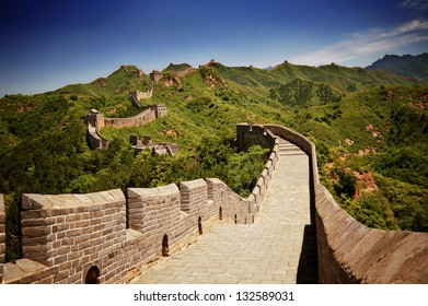 The Great Wall of China near Jinshanling on a sunny day