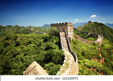 The Great Wall of China near Jinshanling on a sunny summer day