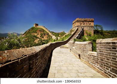 The Great Wall of China on a sunny summer day