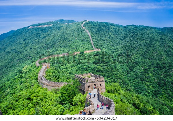 Great Wall of China and the panorama of the mighty mountains.