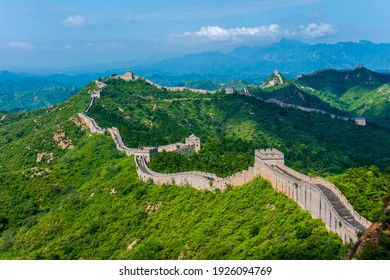 The great wall of China was photographed in summer