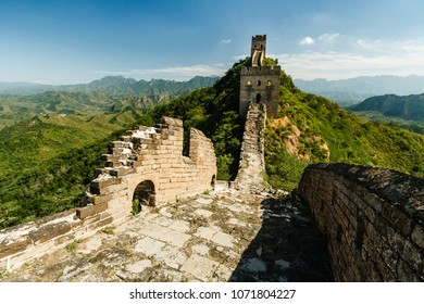 Great Wall of China remote outpost and ruins in green countryside