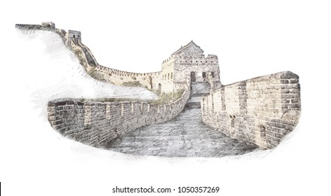 The Great Wall of China in sketch style. Illustration, hand drawn, sketch isolated on white.Watercolor chinese historical showplace for print, souvenirs, postcards, t-shirts, decoration, picture.