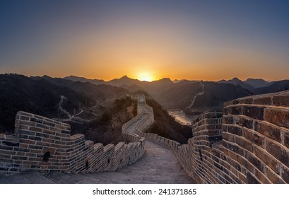 Great Wall of China in Summer with beautiful sky in sunset
