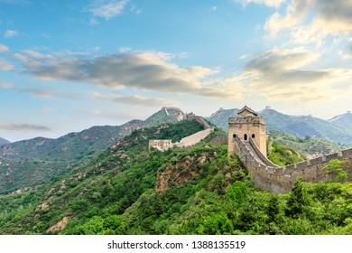 The Great Wall of China at sunset