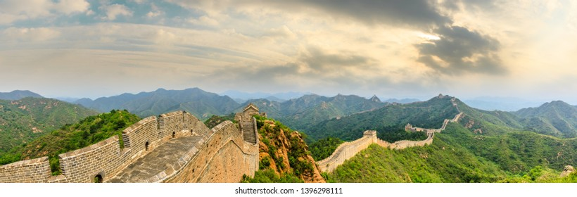 The Great Wall of China at sunset,panoramic view