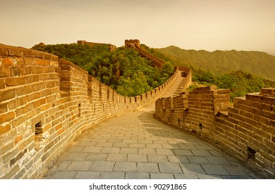 Great Wall of China in warm sunset light