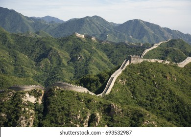 Great Wall in Chine. History place. Old architecture. Mountains. Nature. Landscape. Horizon.