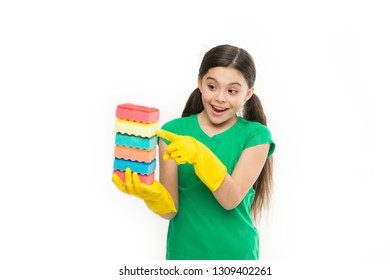 Great for washing dishes. Household duties. Small housekeeper holding dish sponges in rubber gloves. Little housemaid ready for household help. Adorable kitchen maid. Cleaning and washing up.