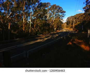 Great Western Highway near the Explorers' Tree between Katoomba and Medlow Bath. Main road in the Blue Mountains, Australia.