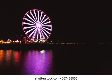 The Great Wheel at night in Seattle, WA.