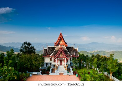 Great white pagoda on the top of hill,Chiang Rai Thailand