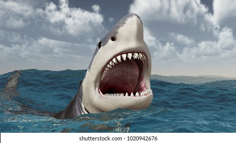 Great white shark in the stormy sea Computer generated 3D illustration