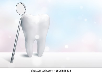A great white tooth with a dental mirror on a white table