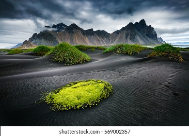 Great wind rippled beach black sand. Picturesque and gorgeous scene. Popular tourist attraction. Location famous place Stokksnes cape, Vestrahorn (Batman Mountain), Iceland, Europe. Beauty world.