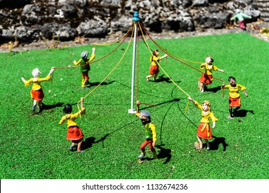 Great Yarmouth, Norfolk, England. Merrivale Model Village. Maypole dance.