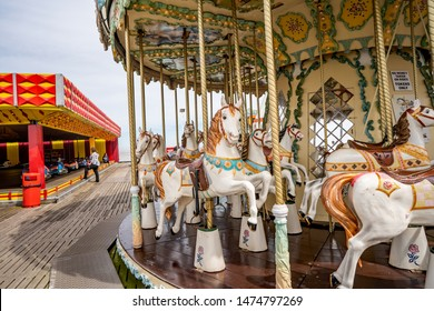 Great Yarmouth, Norfolk, UK – June 01 2019. Close up of the horses on the carousel on Britannia Pier Great Yarmouth, Norfolk