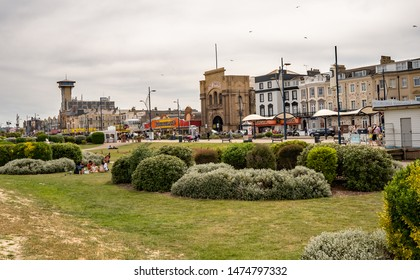 Great Yarmouth, Norfolk, UK – June 01 2019. A view of the Golden Mile, i.e. the seafront, in the coastal town of Great Yarmouth, Norfolk