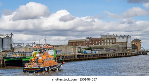 Great Yarmouth, Norfolk, UK – September 08 2019. Great Yarmouth and Gorleston offshore Lifeboat sailing off down the river during the Yarmouth Maritime Festival