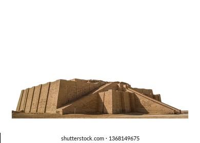 The Great Ziggurat of Ur ( Dhi Qar Province, Iraq) isolated on white background