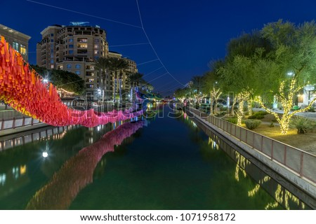 Greate Arizona Canal in the Scottsdale Waterfront District decorated for Christmas.