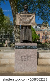 Greater London, London, UK - May 5 2018 : Millicent Fawcett Courage Calls to Courage Everywhere statue in Parliament Square, Westminster, London