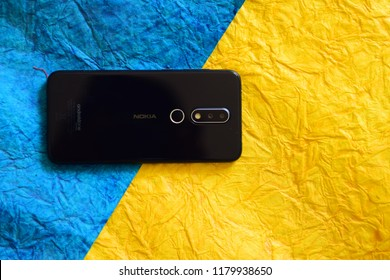 Greater Noida, Uttar Pradesh / India - September 15 2018: nokia 6.1 plus android smartphone by HMD global with dual camera and fingerprint reader