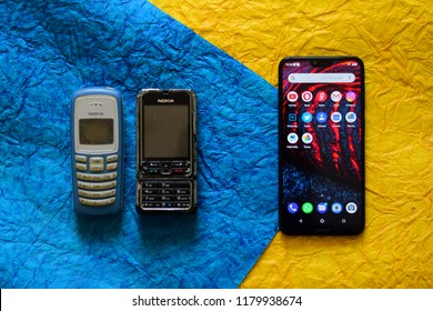 Greater Noida, Uttar Pradesh / India - September 15 2018: old Nokia feature phone with new smartphone, Nokia 6.1 plus