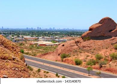 Greater Phoenix Metro area as seen from Papago park mountains, Arizona