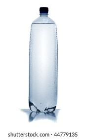 Greater plastic bottle of water on a white background