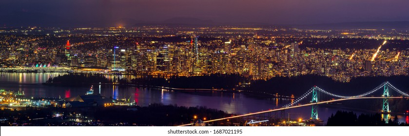 Greater Vancouver at blue hour, British Columbia, Canada