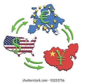 The greatest economies in the world, USA, China and Europe. Illustration of economic relations and currency trading.