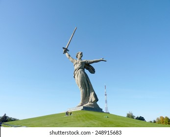 "The greatest sculptur in the world ""Motherland"" on Mamayev Kurgan in the city of Volgograd"