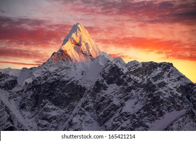 Greatness of nature. Ama Dablam peak (6856 m) at sunset. Nepal, Himalayas.     Canon 5D Mk II.