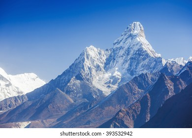 Greatness of nature. Khumbu Valley. Mt. Ama Dablam in the Everest Region of the Himalayas, Nepal