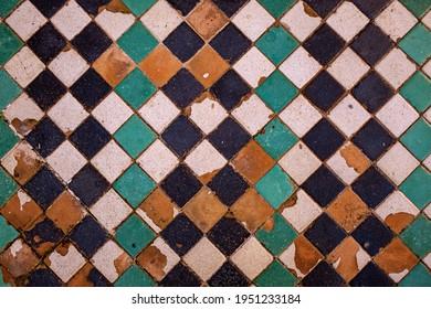 Gree and Black old Moorish Pattern Tiles