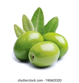 Gree olive fruit and olive leaves on white backgrounds.