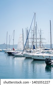 Greece -  5, May 2019: Boats, yachts and catamarans stand in the marina in sunny weather. boat parking