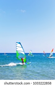 Greece. Active holidays in Rhodes Island. Windsurfing on the famous sandy beach Prassonissi