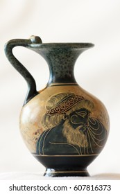 Greece Athene  May 19 2009:  Ancient Greek vase with mythological paintings on white background. These illustrative copies are for sale.